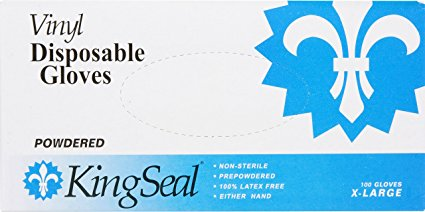 KingSeal Vinyl Disposable Gloves, Powdered, 4 mil, Clear, Medium, 4 bx/100 per Case