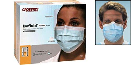 Crosstex Isofluid Fog Free Facemasks with Faceshield Blue 25/Box