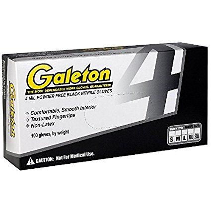 Galeton 11204-XXL 11204 Nitrile Black 4 mil Disposable Gloves, Powder Free, Box of 100, XX-Large