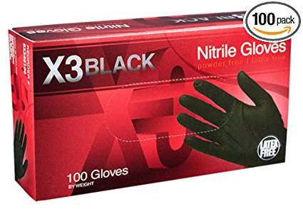 AMMEX - BX342100-BX - Nitrile Gloves - Disposable, Powder Free, Latex Free, 3 mil, Food Safe, Small, Black (Box of 100)
