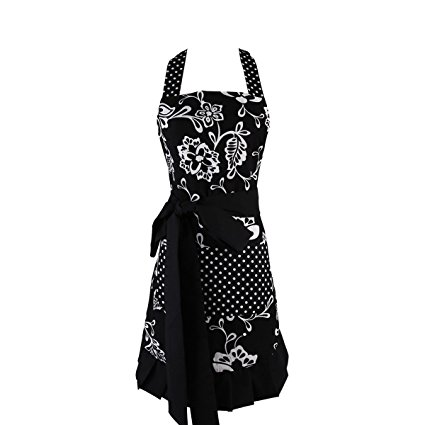 Women's Original Floral Apron with Pockets, Adjustable Long Ties for Kitchen Cooking, Baking and Gardening,29x21inch(Black)