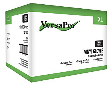 VersaPro 700XL-CS Vinyl Gloves, Latex and Powder Free, XL, Clear (Pack of 1000)