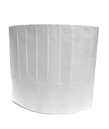 Disposable Chef Hats, Pleated, Adjustable Band, 9